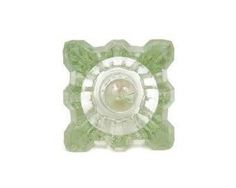 Vintage Green Glass Candlestick Holder Ring Holder Blown Glass Pastel Green Taper Candle Holder Danish Modern