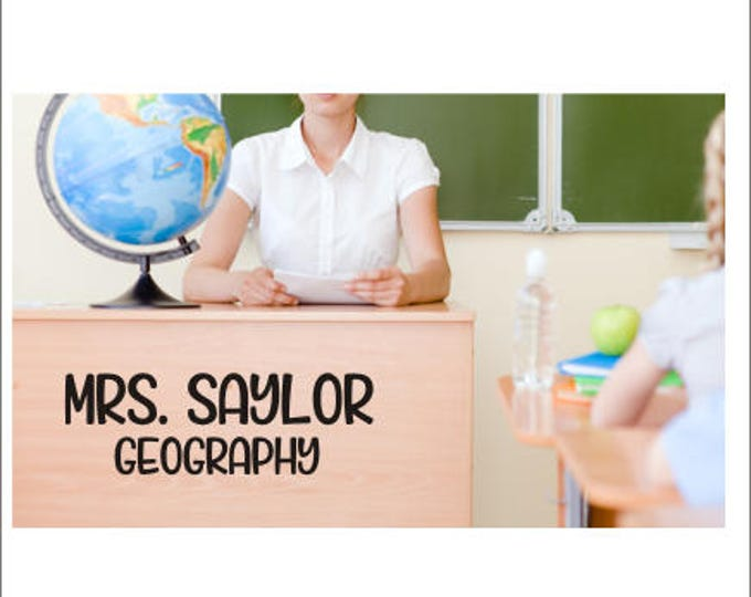 Personalized Teacher Decal Teacher Name Desk Decal Vinyl Decal for Classroom Door Decal Teacher Name and Grade Classroom Decor Various Sizes
