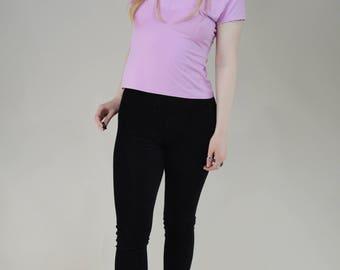 90s Baby Pink Off Shoulder V Neck Blouse Top M