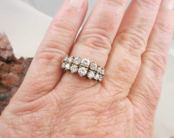 Vintage Wedding Bridal Sterling CZ Ring