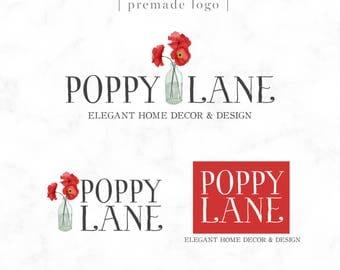Premade Logo Design - Red Poppy - Watercolor - Florist Logo - Boutique Logo - Photography Logo - Home Decor -  Poppies Logo - Flower Logo