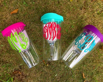 Monogrammed Personalized Name Clear Wine Sippy Cup Tumbler