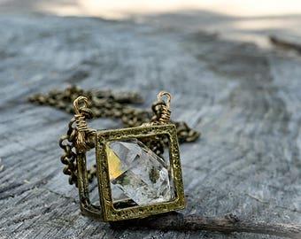 RAW DIAMOND Necklace - Cube Pendant - Herkimer Diamond - Raw Gemstone
