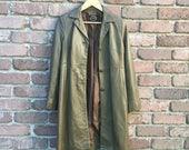 Vintage 1990s Khaki Leather Jacket