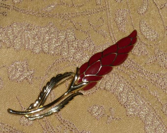 Enamel Red Flower Bud Brooch Pin Floral Vintage Monet