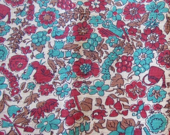 vintage FULL feed sack fabric -- red and turquoise novelty print