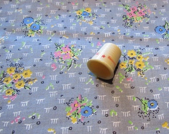 pink, yellow and blue on gray floral print vintage cotton fabric -- 36 wide by 2 1/4 yards