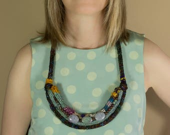 Knit Necklace, Fabric Necklaces, Crochet Necklaces, Textile Jewelry, Statement Necklaces, Bib Necklaces, Chunky Necklaces, Big Necklaces