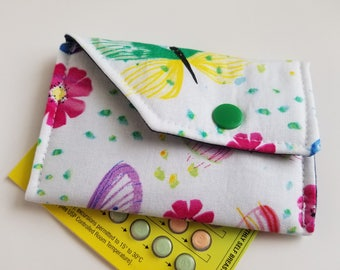 Birth Control Case Sleeve with Snap Closure -Butterflies