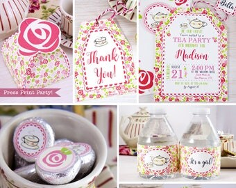 Tea Party Printables, Tea Party Decorations, A Baby is Brewing, Bridal Shower Tea Party, Birthday Tea Party, Baby Shower, INSTANT DOWNLOAD