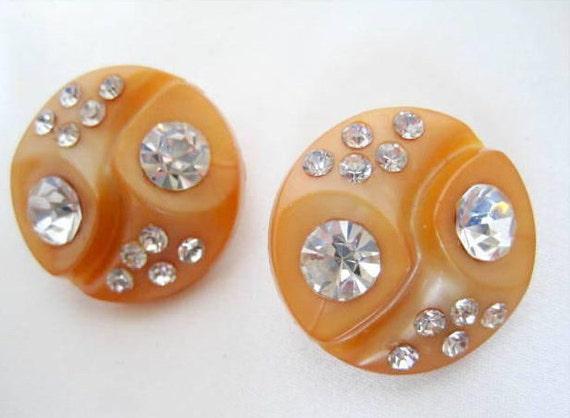 Celluloid Rhinestone Earrings - Light Tan - Glam Earrings - 60's Clip Ons
