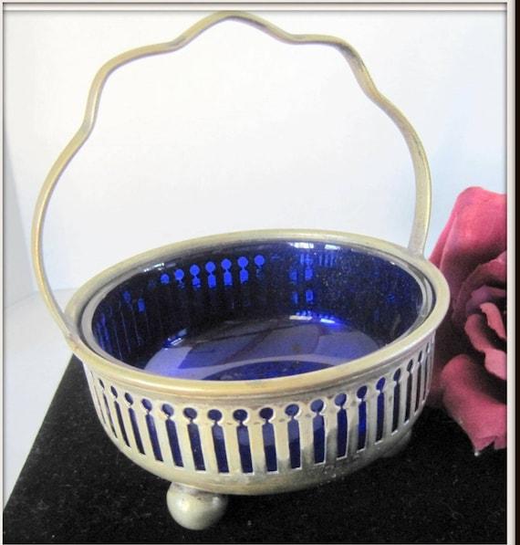 Antique Master Salt - Silverplate Cobalt Glass  - Victorian British Footed - William Edwards Silversmith - 1800's Silverplate - Cobalt Glass