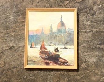 Painting of St Paul's Cathedral Church Sunset River Thames England Original Art Dated 1980 Wall Hanging Home Decor