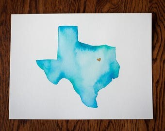 Turquoise Texas Love Watercolor