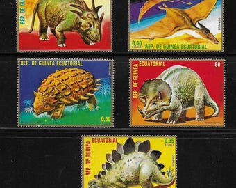 Prehistoric Animals and Dinosaurs - Vintage Stamps - Equatorial Guinea & Poland