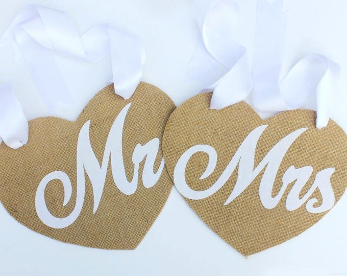 Mr & Mrs Chair Sign. Burlap Sign. Rustic Wedding Decor. Shabby Chic. Burlap wedding chair.