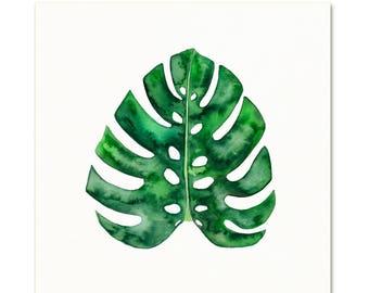 Watercolor Monstera Leaf Art Print. Tropical Plant Wall Art. Monstera Painting. Modern Boho Botanical Wall Art. Modern Wall Art. Plant Art.