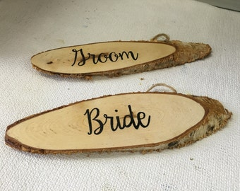 Bride and Groom Wood Chair Signs / Wedding Chair Decoration / Sweetheart Table Decor