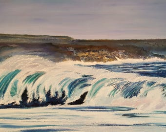 After The Storm, Ocean Oil Painting, White Waves on Coast, Dan Leasure, 60,31,unframed, painted edges