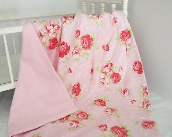 Baby Quilt Blanket, Crib Blanket, Lap Blanket, Cottage Chic Roses Cotton Print and Polar Fleece Quilted Lap Blanket/ Quilt/ Travel Blanket