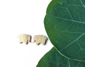 Gold Plated Elephant Earrings - Tiny Elephant Earrings - Dainty Gold Elephant Earrings - Delicate Gold Elephant Earrings