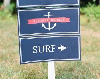 Personalized Nautical Sign - You Pick the Text (Red Nautical Party, Nautical Baby Shower, Welcome Aboard Sign, Boys Preppy Nautical Party)