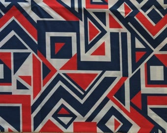 Geometric Vintage Red White and Blue 1970s