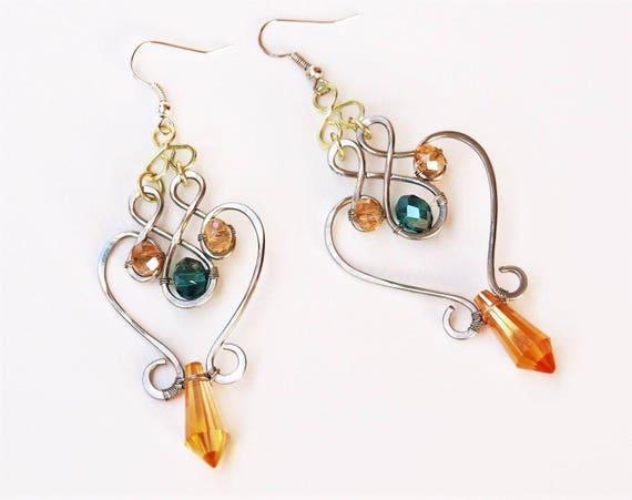 Silver wire earrings Oriental Dangle drop party earrings Gift for women her girlfriend Greek Goddess Boho Emerald green