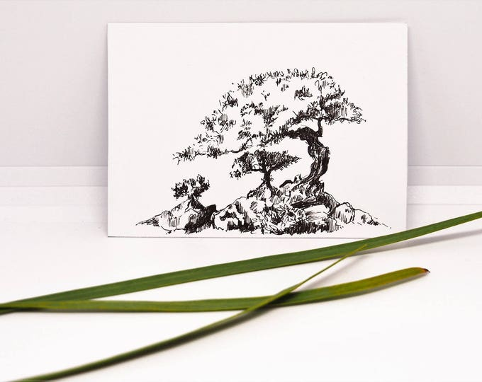 ACEO Original ATC ink drawing painting Artists Trading Card Pocket art Miniature Tree Bonsai Nature Small gifts Christmas gift collectible