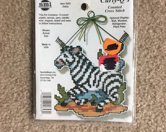 Needle Magic Zebra Curly-Q's Counted Cross Stitch / Plastic Canvas Kit - NEW UNOPENED KIT
