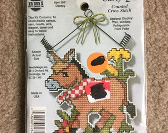 Donkey Curly-Q's Counted Cross Stitch / Plastic Canvas Kit by Needle Magic - NEW UNOPENED KIT