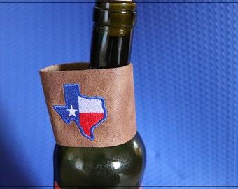 Texas Flag Leather Bracelet/ Leather Bracelet/Texas Bracelet/Brown Leather Bracelet/Lone Star State Bracelet/