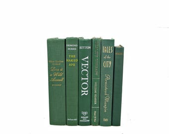 Hunter Green Books, Decorative Books, Instant Library, Antique Book Decor, Vintage BOok Set, Old Book Collection PISTACHIO, HOme Decor