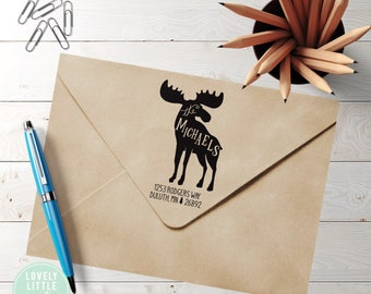 Moose return address stamp, Self-inking or wood stamp, Moose Theme Large Custom Address Stamp, Moose Gift style 1005 - Lovely Little Party