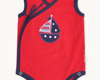 Red Boat Side Tie Romper