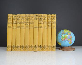 Bomba The Jungle Boy Book set // Vintage set of 11 Children's Story Books with Dust Jackets 1920's 1930's Mustard Yellow Gold Nursery Decor