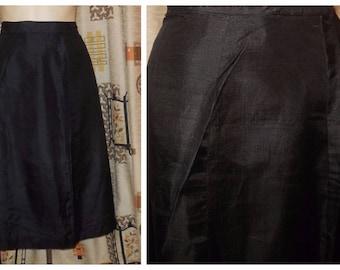 Vintage Straight Skirt early 1960s Black Silk Skirt Rockabilly Cocktail Breakfast at Tiffany's Elegant L XL waist to 32 in