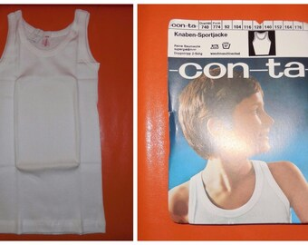 DEADSTOCK Boy's Underwear 1960s Unworn White Ribbed Cotton Undershirt Tank Top NIP German Conta Rockabilly Traditional Old School sz 128