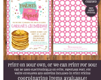 Pancakes and Pajamas birthday invitation - Pancakes and PJS invitation - Rise and Shine - Breakfast Party - Pancake invite - Item 0375