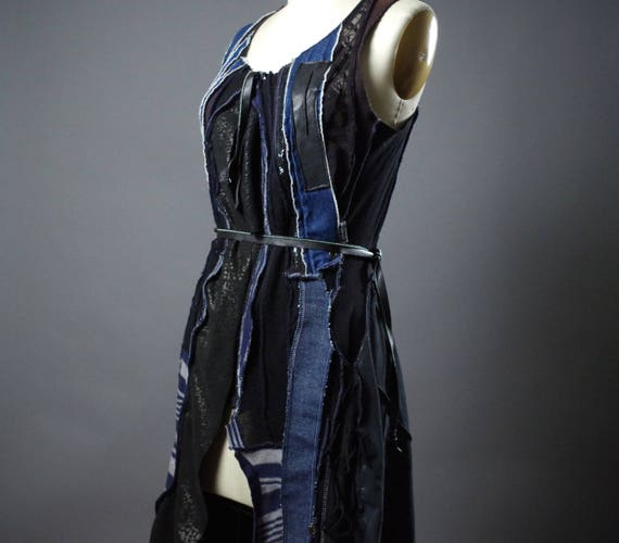 OOAK Denim and Leather Vest - Up-cycle Clothing -  Long Leather Vest - Leather Clothing - One of a Kind - Designer Clothing