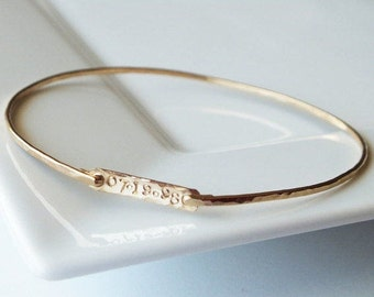 Personalized Bar Bangle - ID Bracelet - Tri Colored Stacking Bangle - Layering Jewelry - Mixed Metal Bangles