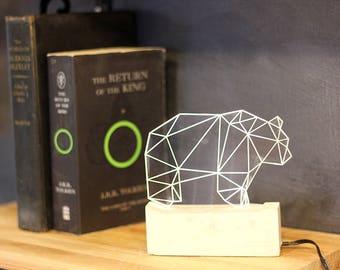 Concrete bear table lamp/ Geometric LED bear night light / Decorative animal lamp