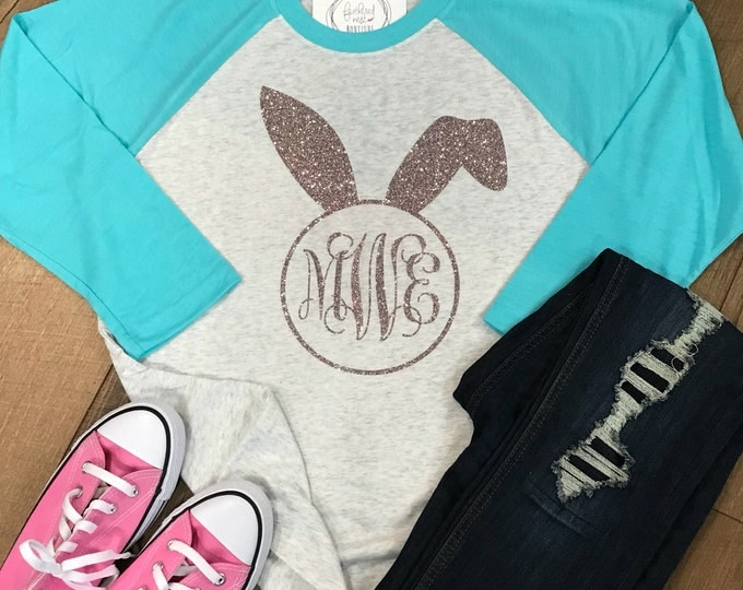 Featured listing image: Monogrammed Easter Bunny Ears Raglan Shirt - Monogram Easter Tshirt - Monogram Baseball Shirt - Easter Tee - Spring Shirt