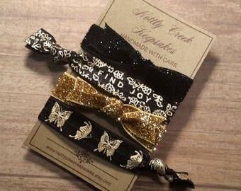 Glitter Bow Elastic Hair Ties * Gold & Black Metallic Set of 4 FOE * No Crease Hairties * Hair Band Bracelet
