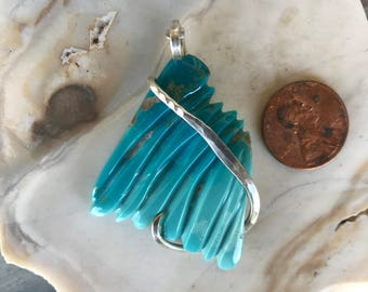 Sleeping Beauty Turquoise Silver Wrapped Pendant