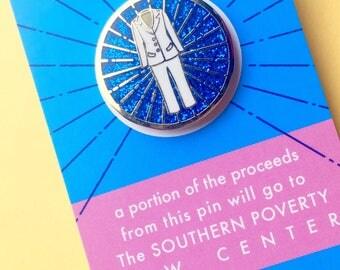 Pantsuit Glitter Pin    hard enamel pin, pantsuit pin, resist pin, feminist pin, glitter pin, feminist gift, feminist enamel pin