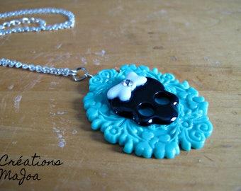 Sautoir camée avec skull '' Lolita'' // Cameo necklace with skull '' Lolita ''