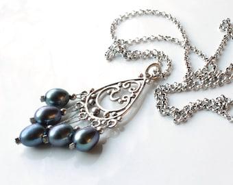 Grey Pearls Necklace, Sterling Silver filigree pendant, dark grey pearl pendant, elegant boho luxe, holiday gift, June birthstone, 3797