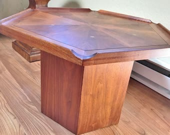 Mid Century Modern Kipp Stewart table  Hexagon with inlay and sculpted details