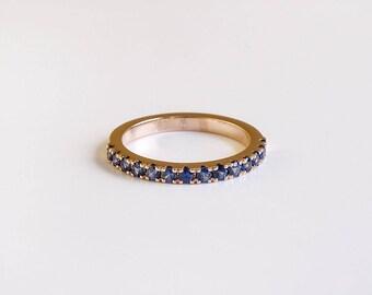 Sapphire Eternity Ring,Sapphire Engagement Band Ring, Half Eternity 18k Gold Saphire Wedding Band,Women Stack Ring Wedding
